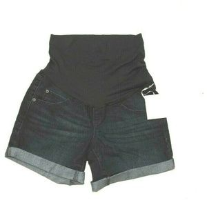 Maternity Blue Jean Active Shorts Full Belly